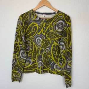 PrAna gray yellow button up cardigan sweater large